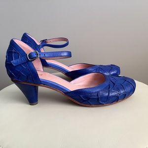 Blue Leather Kitten Heels/ Pumps
